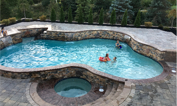 inground pool and spa combo