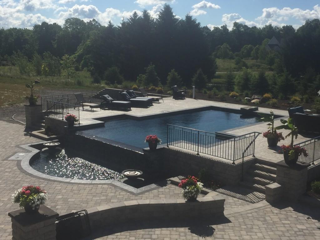 inground pool, infinity edge, gunite, fire bowl