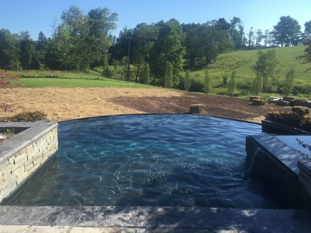 inground pool, Infinity hot tub, new installation, pool construction, gunite swimming pool,