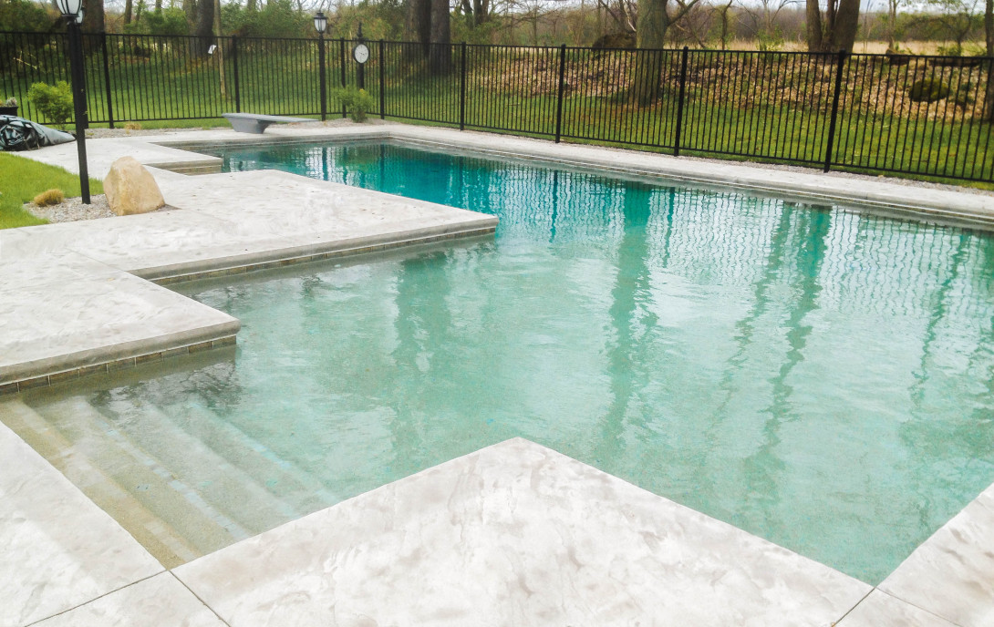 inground pool, beach entry, design pool, pool installation, gunite, concrete