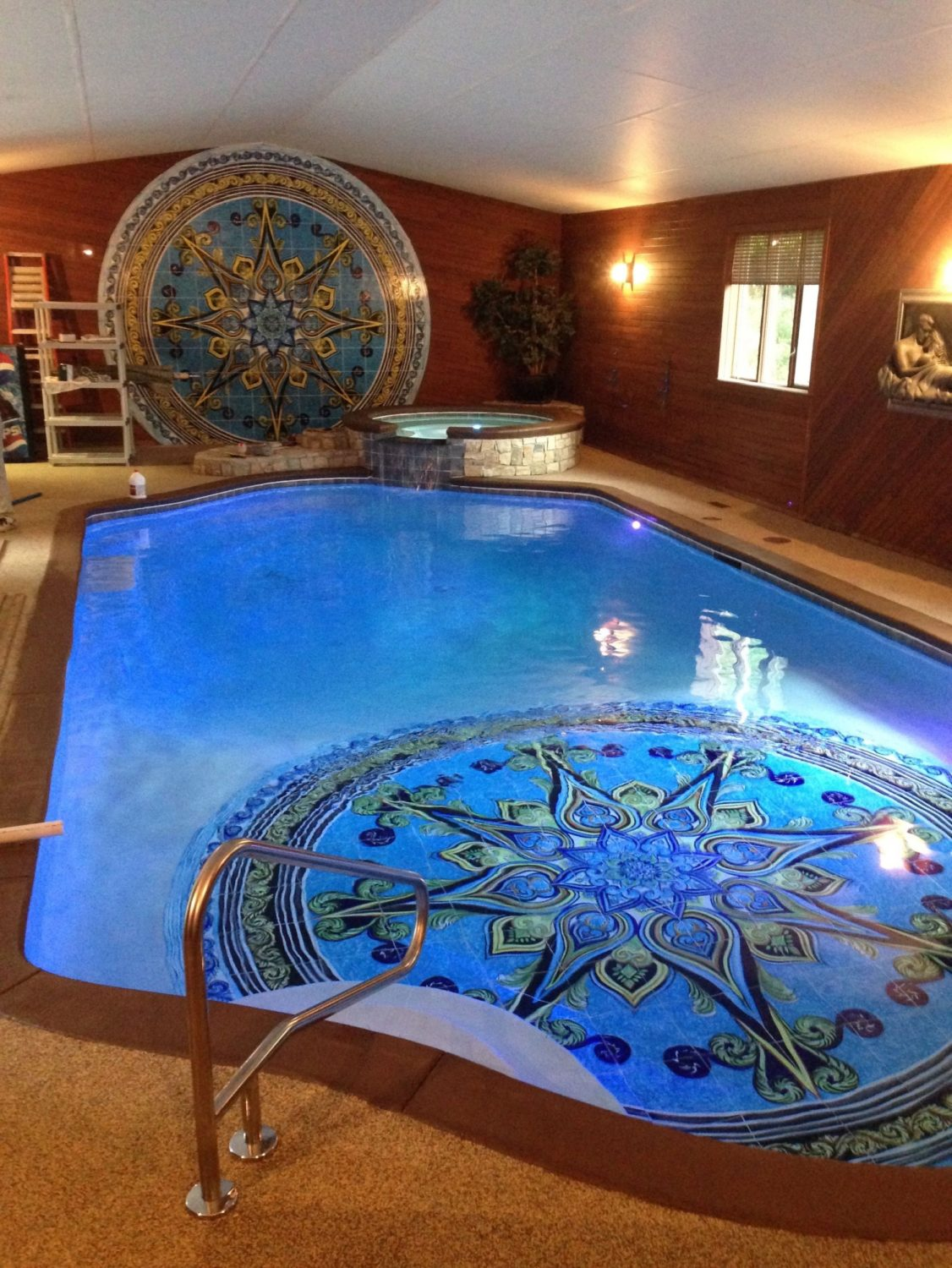 indoor pool, mosaic tile, precision pool and spa, hot tub,