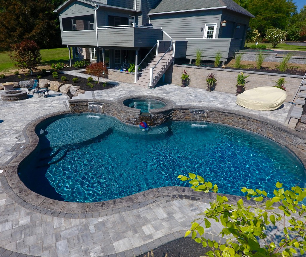 inground pool, Pool and Spa Combo. Waterfall, tanning ledge, sun shelf, natural pool, gunite, precision pool and spa, pool design,