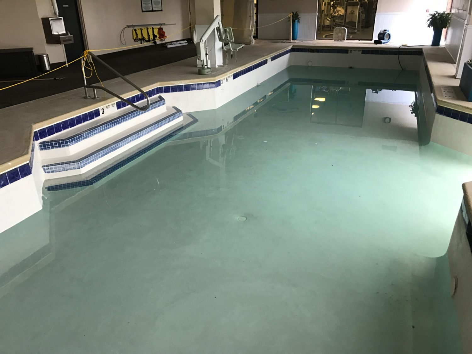 inground concrete pool, woodcliff pool resurfacing, indoor commercial pool