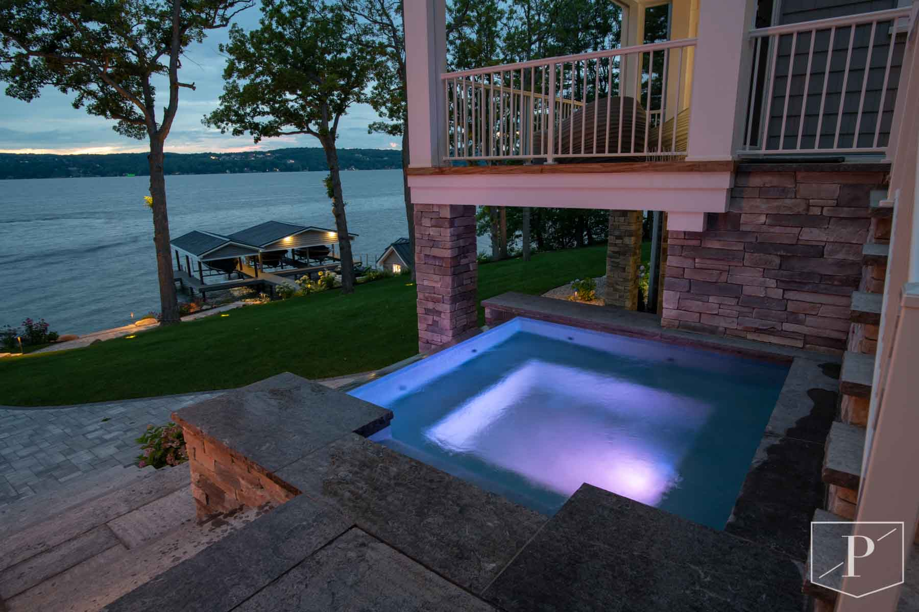 Custom Spa overlooking Canandaigua Lake